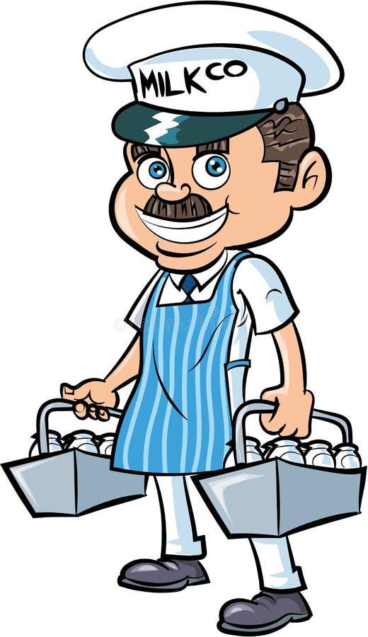 Laitier de bande dessinée livrant le lait illustration de vecteur