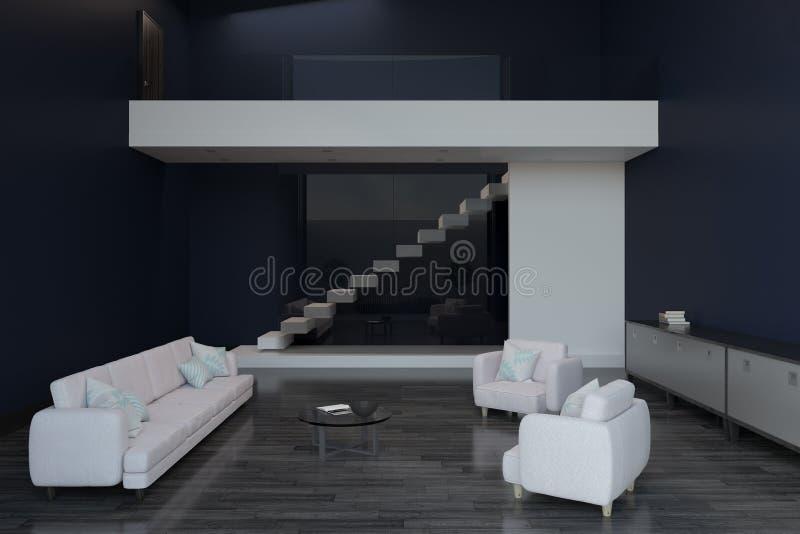 Laje branca do banco na sala moderna ilustração do vetor