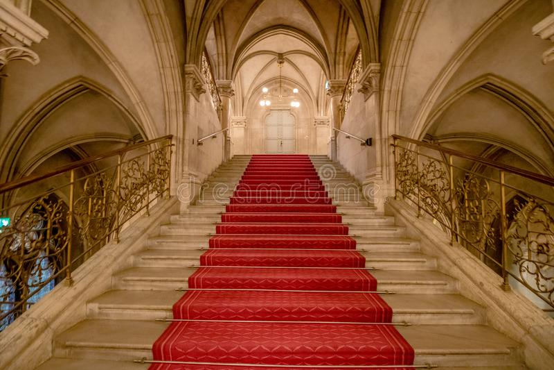 Lajkoników schodki w Wiedeń urzędzie miasta, Austria obrazy stock