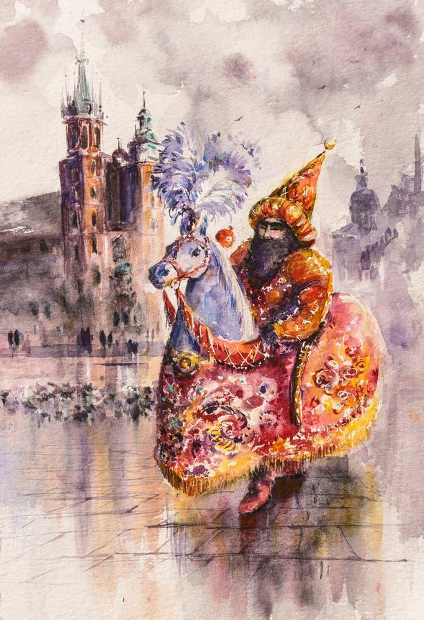 Lajkonik, Krakow, Polônia ilustração stock
