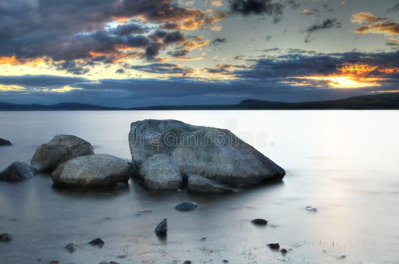 lake över solnedgång royaltyfri fotografi