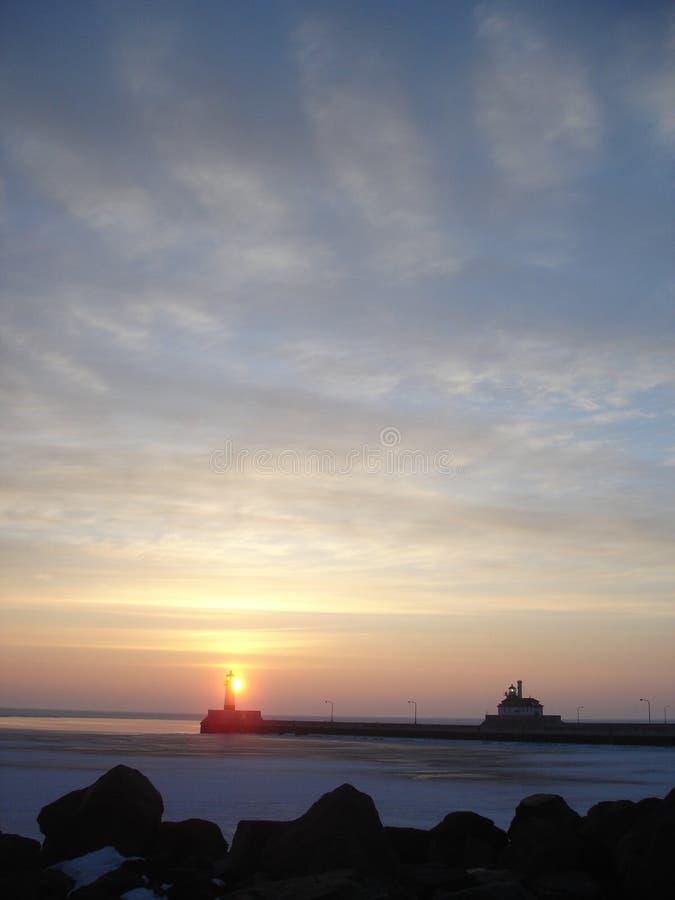 lake över soluppgångsuperior royaltyfri bild