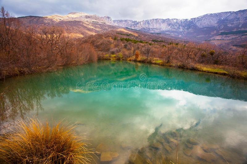 Lake. Goluboe in Crimean mountains stock photos