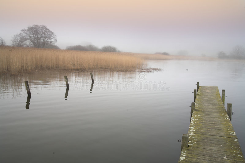 Lake. A lake in denmark in the winter time with a foggy weather royalty free stock photos