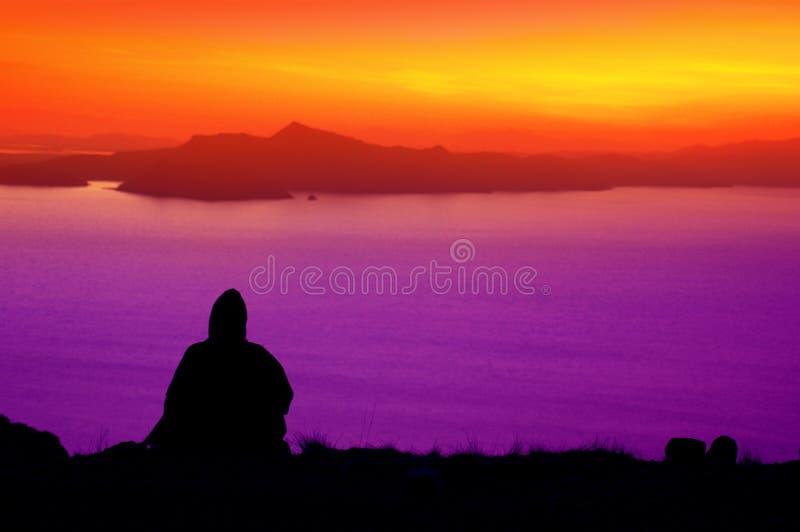 lake 5 över peru solnedgångtiticaca arkivfoton