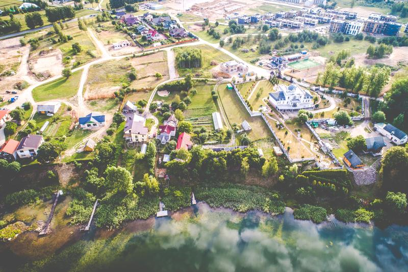 Lake aerial view in Lithuania Vilnius royalty free stock images