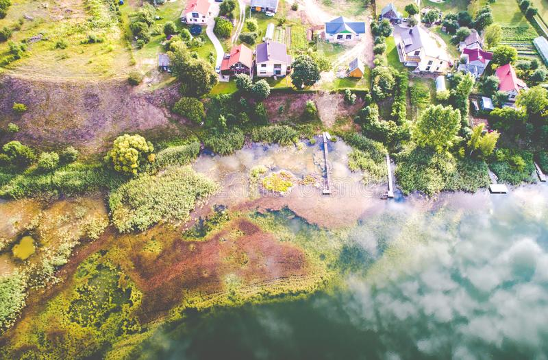 Lake aerial view in Lithuania Vilnius royalty free stock photo