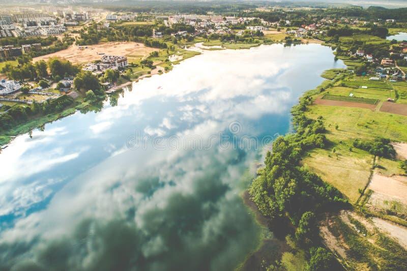 Lake aerial view, Vilnius stock image