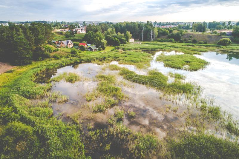 Lake aerial view in Lithuania Vilnius stock photography