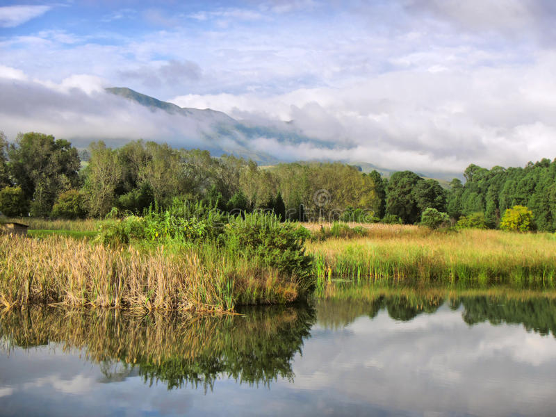 Download Lake Against Misty Mountains Stock Image - Image: 30353385