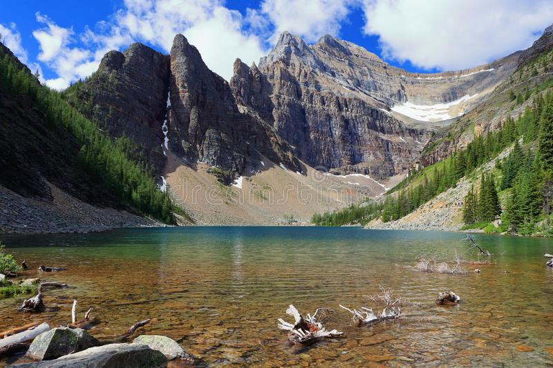 Picturesque Lake Agnes and Sheer Cliffs of Devils Thumb in the Canadian Rocky Mountains, Banff National Park, Alberta, Canada. The clear waters of Lake Agnes stock photography