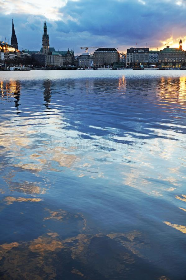 Lake Alster in Hamburg. royalty free stock photography