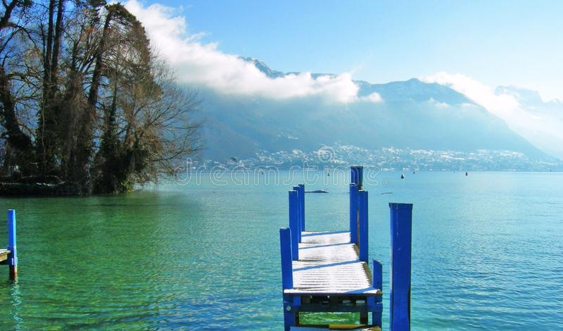 Lake of annecy in winter royalty free stock photo