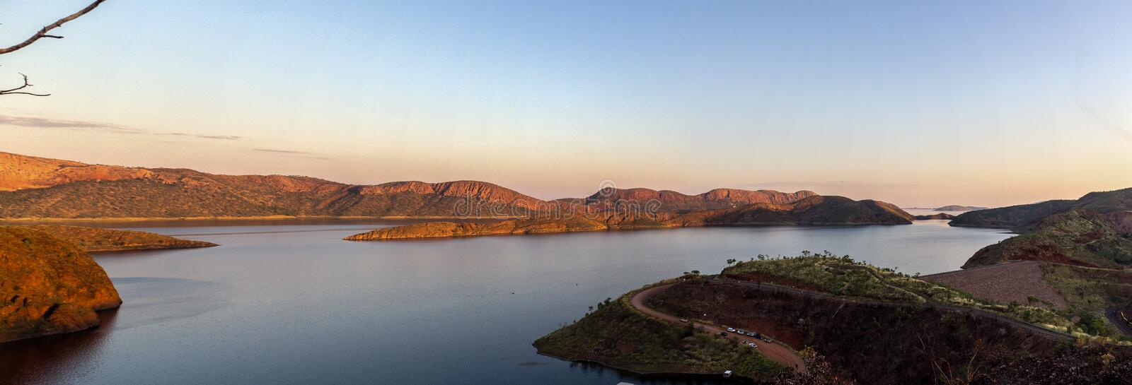 Panorama of Lake Argyle. It is Western Australia`s largest man-made reservoir by volume. near the East Kimberley town of. Lake Argyle is Western Australia royalty free stock image
