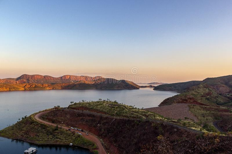 Lake Argyle is Western Australia`s largest man-made reservoir by volume. near the East Kimberley town of Ku. Lake Argyle is Western Australia stock photography