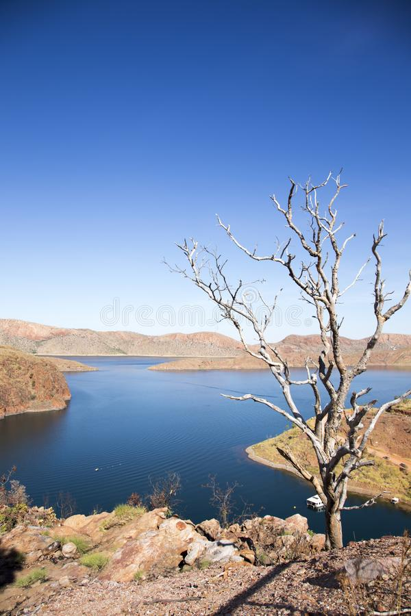 Lake Argyle is Western Australia`s largest and Australia`s second largest freshwater man-made reservoir by volume. The reservoir. Is part of the Ord River stock photography