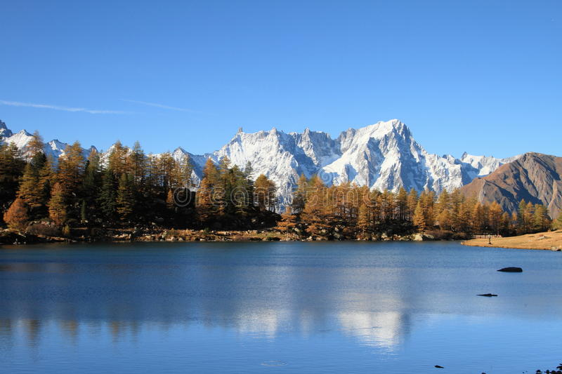 Lake Arpy and Mont Blanc massif royalty free stock photography