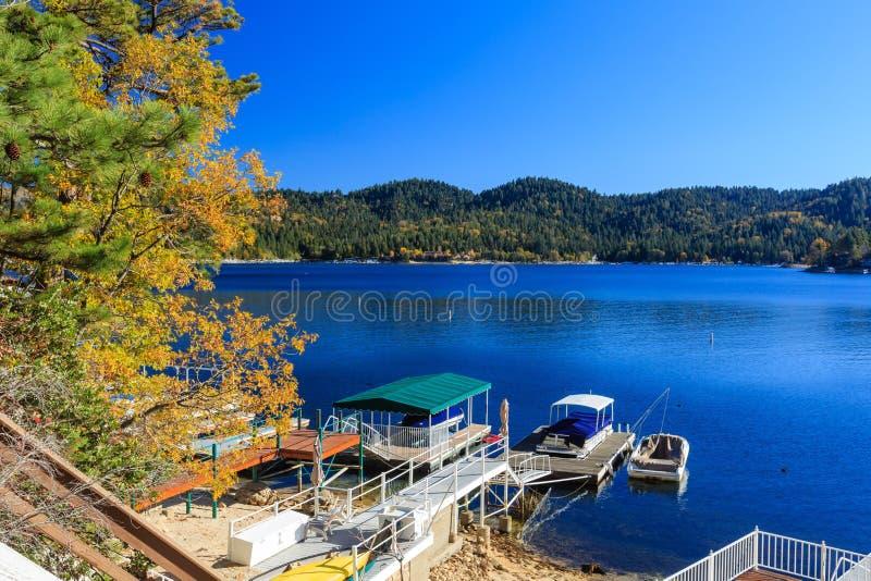 Lake Arrowhead. At Autumn with blue sky royalty free stock photos