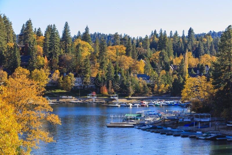 Lake Arrowhead. At Autumn with blue sky stock photography