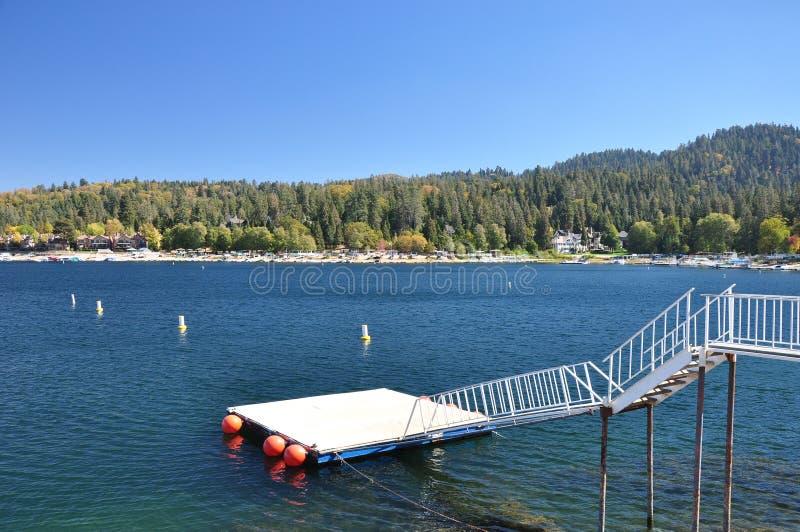 Lake Arrowhead, Ca. View of a water ski platform at Lake Arrowhead in the San Bernardino Mountains of Southern California royalty free stock image