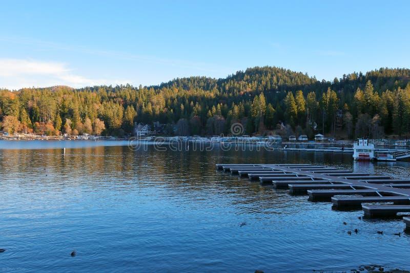 Lake Arrowhead. Peaceful Lake Arrowhead displaying some California fall colors stock photos