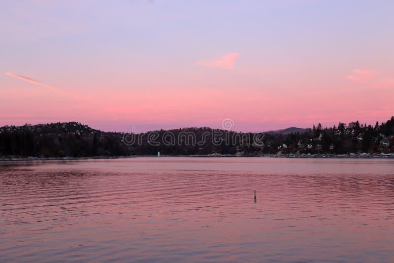 Lake Arrowhead in pink royalty free stock image