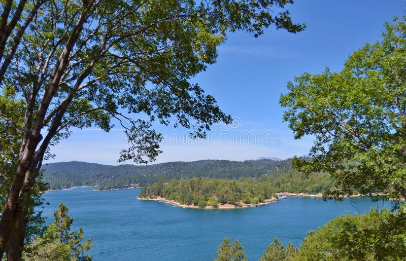 LAKE ARROWHEAD ON A SUMMER DAY. This picture was taken above Lake Arrowhead on a clear warm summer day. It was a beautiful view stock image