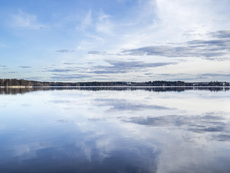 Lake as smooth as a millpond. In Tampere, Finland stock image