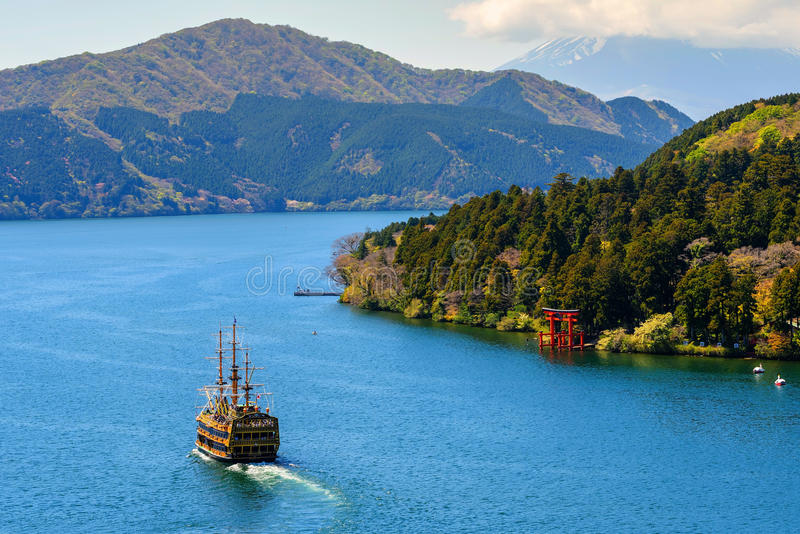 Lake Ashi landmark, Hakone stock photo