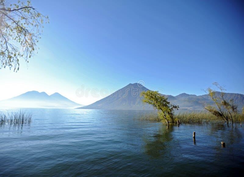 Lake Atitlan, Guatemala. A view of Lake Atitlan (Lago de Atitlan). Guatemala from deck of San Marcos, one of Mayan Villages around the lake royalty free stock photos