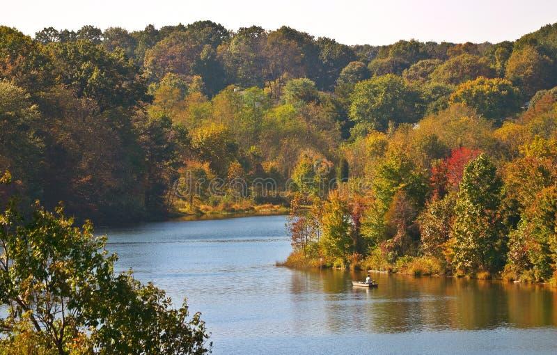 Lake in autumn. Little Seneca Lake. Blackhill Regional Park, Maryland, USA stock photos