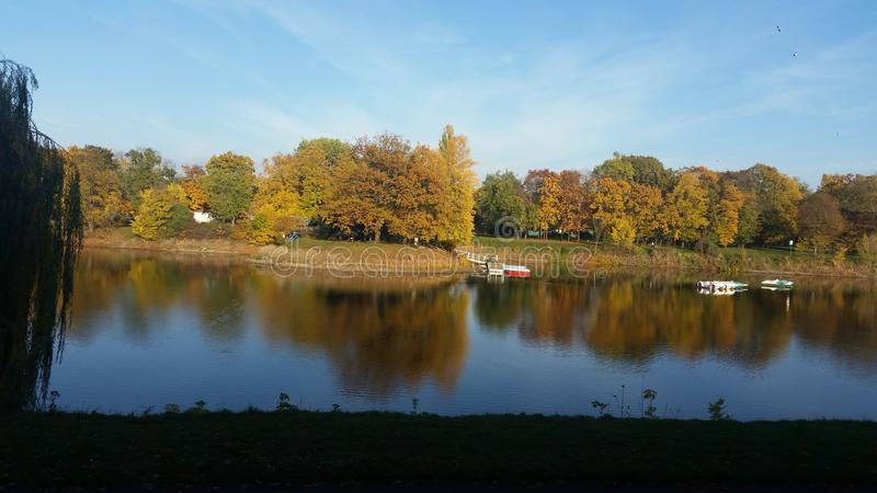 Lake at autumn royalty free stock photography