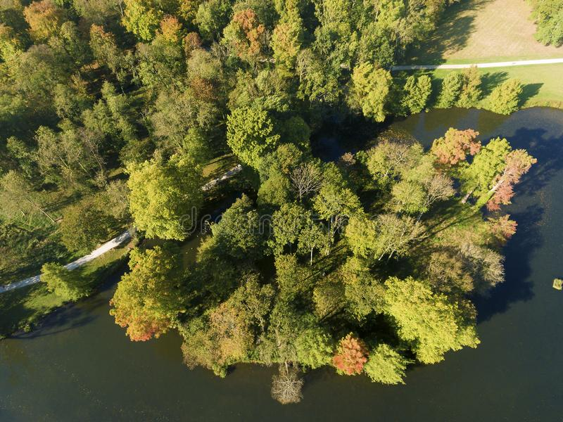 Lake in autumn. Chamarande, Essonne, Ile-de-france, France stock photo