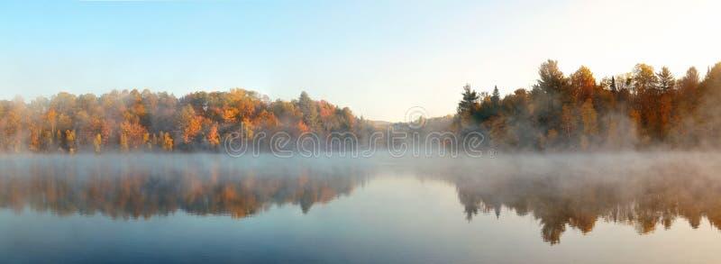 Lake Autumn Foliage fog stock photos