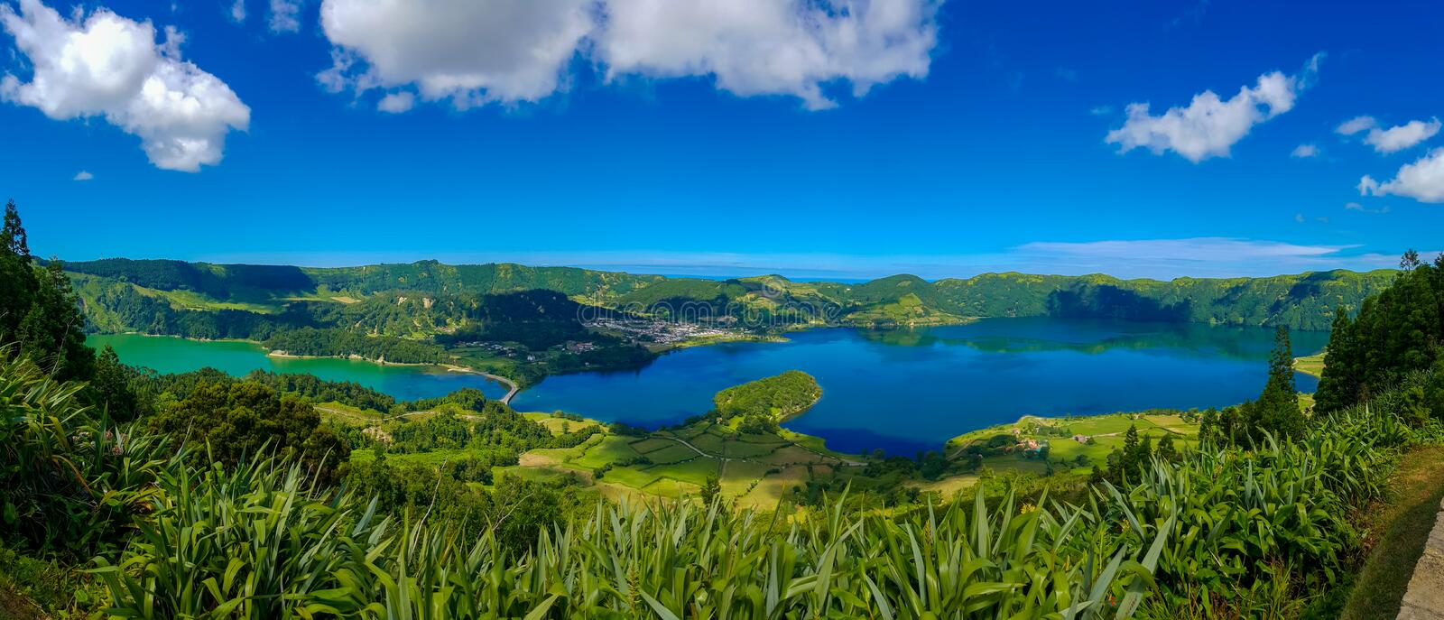 Lake Azul on the islnad Sao Miguel Azores royalty free stock images