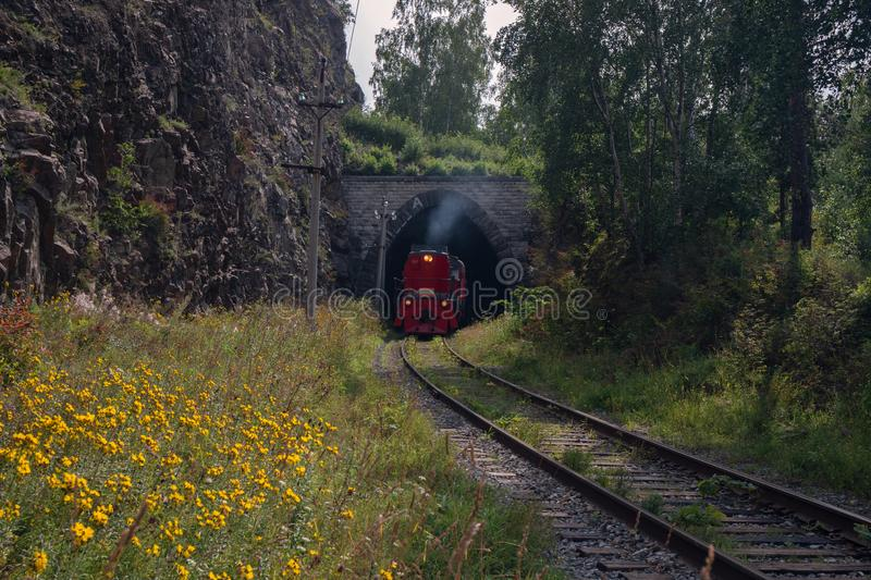 Train on Circum-Baikal Railway royalty free stock image