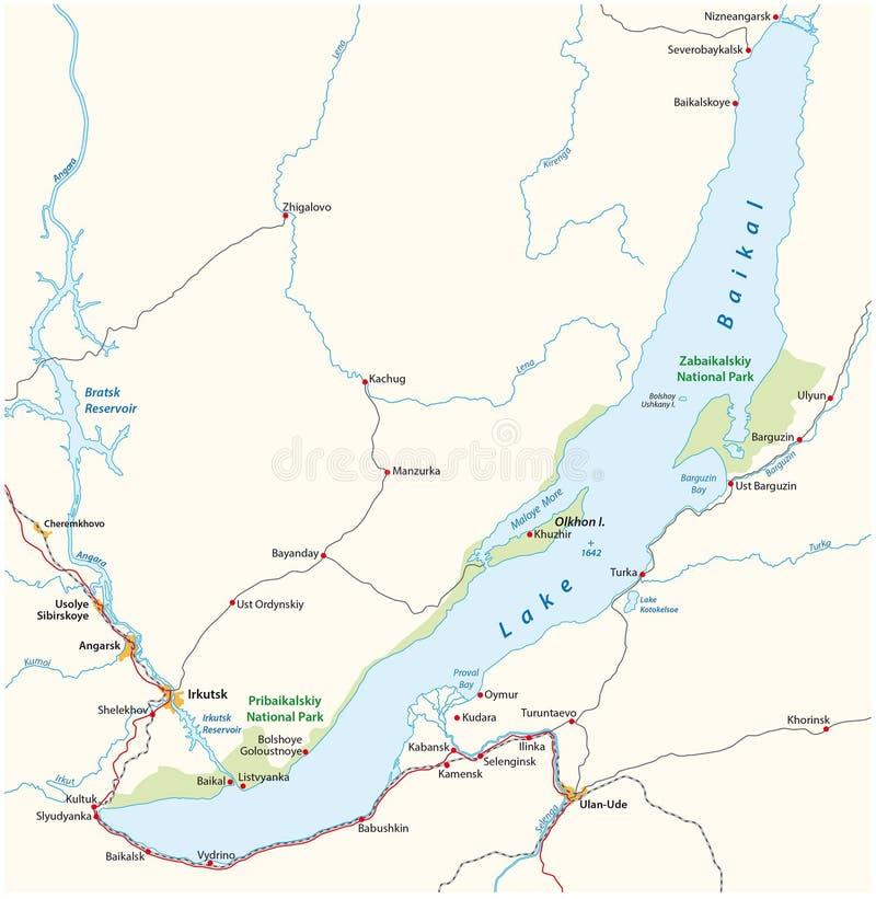Lake Baikal map, Russia. Vector map of the Russian Lake Baikal royalty free illustration
