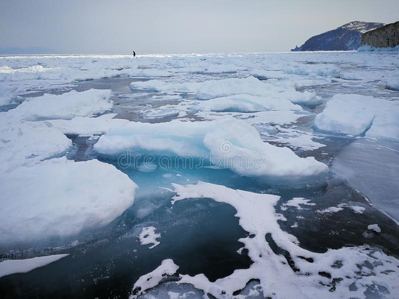 Lake baikal, Russia. Lake baikal russia frozen landscape stock photo