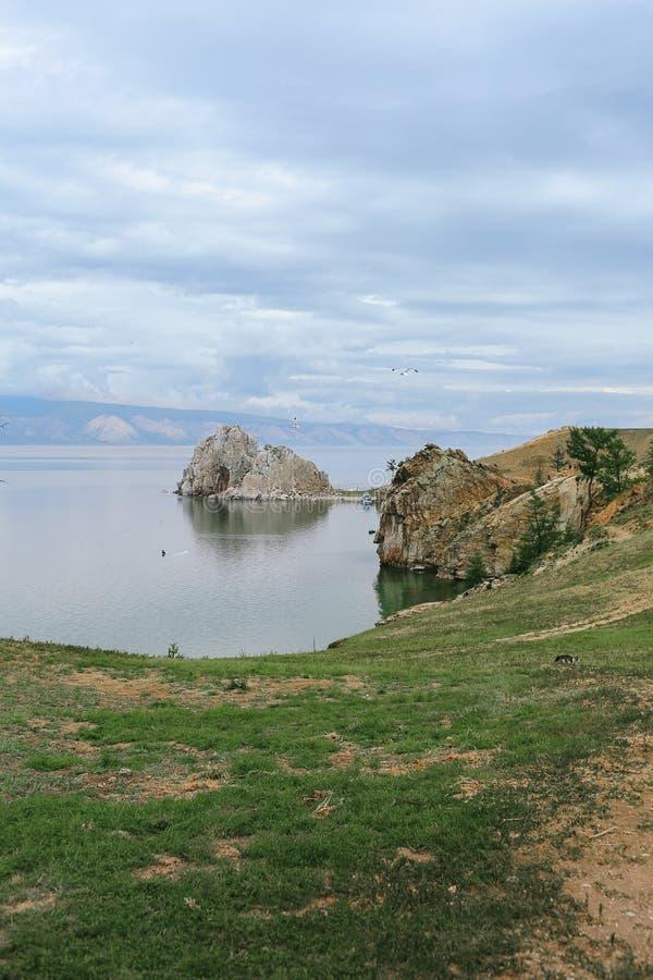 Lake Baikal, Shaman Rock on Olkhon Island stock photo