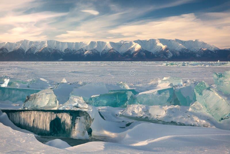 Lake Baikal in winter. stock images