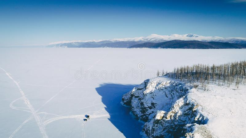 Lake baikal winter. Frozen island cold above stock images