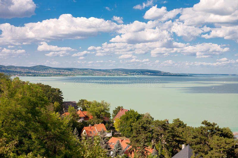Lake Balaton. With nice cloudscape from Tihany village in Hungary stock photography