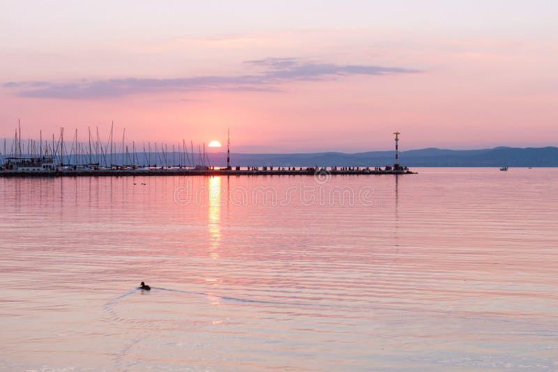 Lake Balaton in Siofok, Hungary. Beautiful sunset over Lake Balaton in Siofok, Hungary royalty free stock image