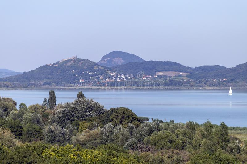Lake Balaton with the witness hills in the background, Hungary.  stock photos