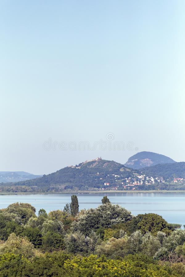 Lake Balaton with the witness hills in the background, Hungary.  royalty free stock images