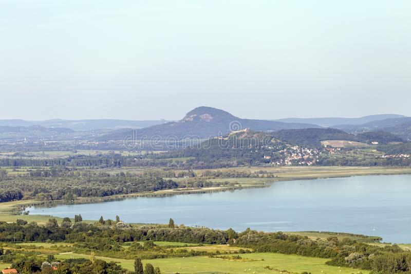 Lake Balaton with the witness hills in the background, Hungary.  royalty free stock photos