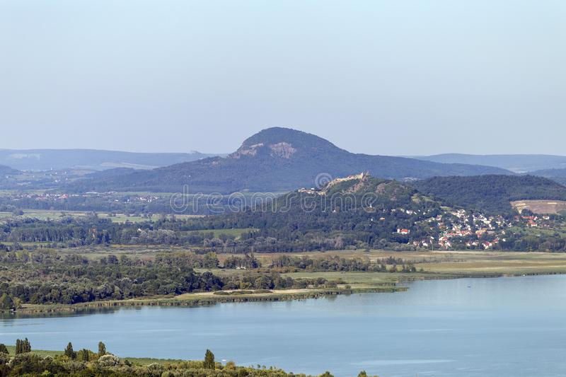 Lake Balaton with the witness hills in the background, Hungary.  royalty free stock photography