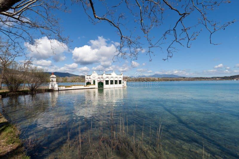 Lake Banyoles, Spain. Catalan natural lake in Gerona royalty free stock photo