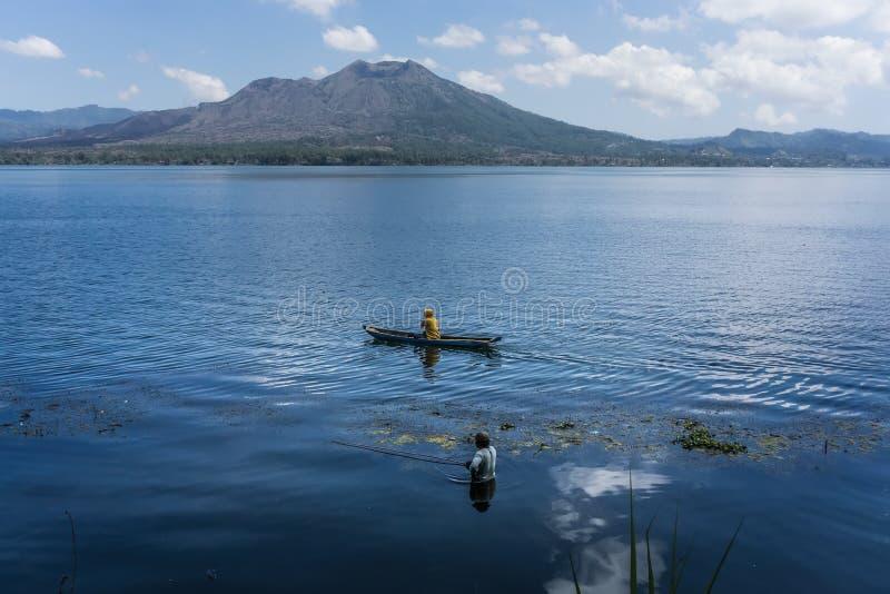 Lake Batur, Bali, Indonesia. Daily life of fisherman at Lake Batur, Kintamani, Bali, Indonesia stock photography