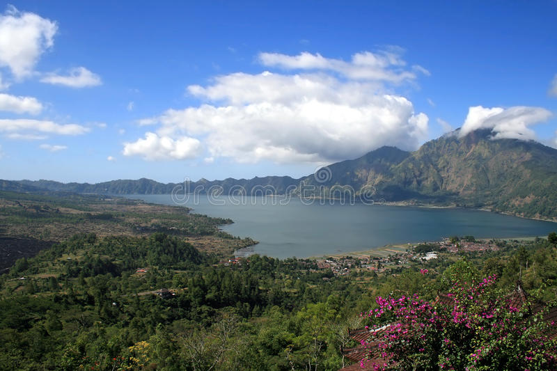 Lake Batur in the crater of the volcano, Indonesia. Bali royalty free stock photos